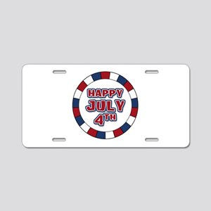 July 4th Round Aluminum License Plate