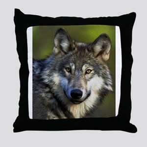 Lone Grey Wolf Throw Pillow