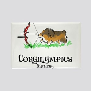 Corgilympics: Archery Rectangle Magnet