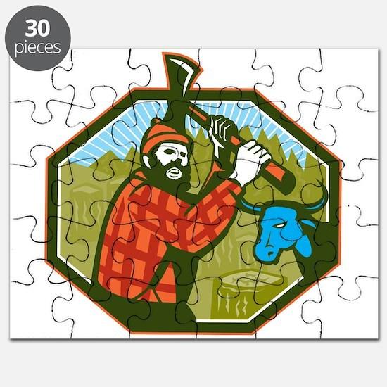 Paul Bunyan LumberJack Axe Blue Ox Puzzle