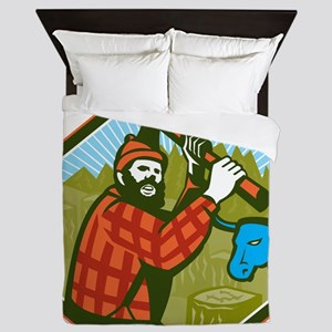 Paul Bunyan LumberJack Axe Blue Ox Queen Duvet