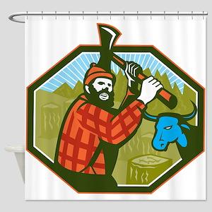 Paul Bunyan LumberJack Axe Blue Ox Shower Curtain