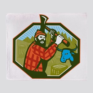 Paul Bunyan LumberJack Axe Blue Ox Throw Blanket