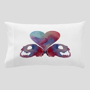 Heart and cat skulls Pillow Case
