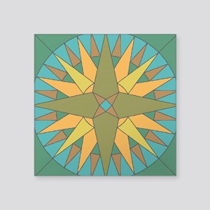 "Mariner's Compass Square Sticker 3"" x 3"""