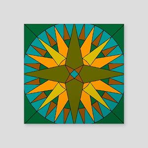 "Mariner's Compass Square Sticker 3"" x 3"""