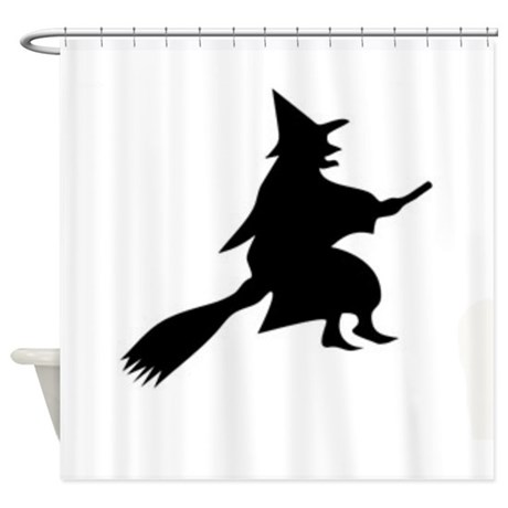 Halloween Witch And Broom Shower Curtain
