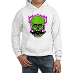 Hipster Mustache Flaming Skull Hoodie