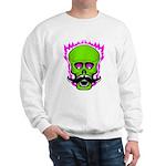 Hipster Mustache Flaming Skull Sweatshirt