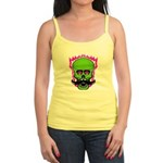 Hipster Mustache Flaming Skull Tank Top