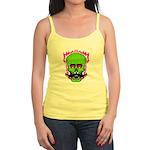 Hipster Mustache Flaming Skull Tank Top