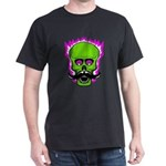 Hipster Mustache Flaming Skull T-Shirt