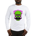 Hipster Mustache Flaming Skull Long Sleeve T-Shirt