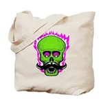 Hipster Mustache Flaming Skull Tote Bag