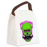 Hipster Mustache Flaming Skull Canvas Lunch Bag