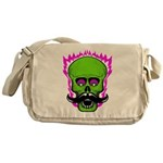 Hipster Mustache Flaming Skull Messenger Bag