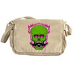 Hipster Mustache Flaming Skull Messenger Bag
