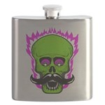 Hipster Mustache Flaming Skull Flask