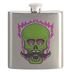 Hipster Mustache Flaming Skull Flask