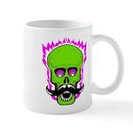 Hipster Mustache Flaming Skull Mug