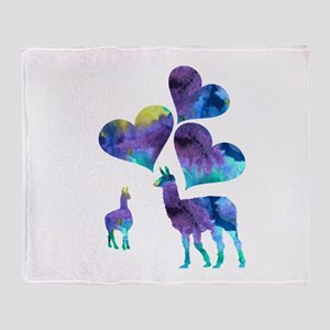 Llama Art Throw Blanket
