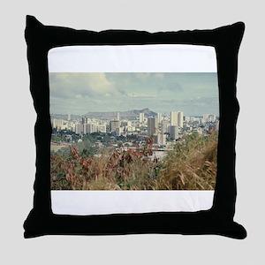 """Honolulu And Diamond Head"" Throw Pillow"
