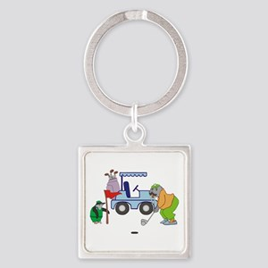 Playing Golf Square Keychain
