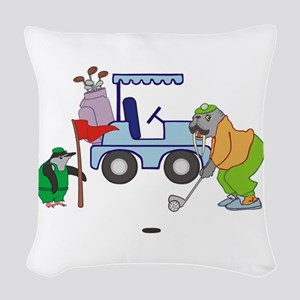 Playing Golf Woven Throw Pillow