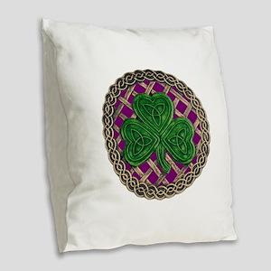 Shamrock And Celtic Knots Burlap Throw Pillow
