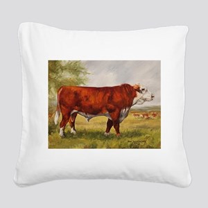 Hereford Bull The Champion Square Canvas Pillow