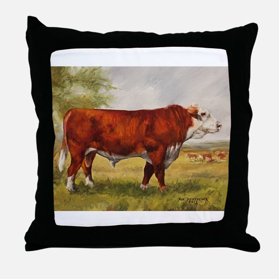 Hereford Bull The Champion Throw Pillow