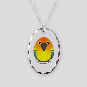 Sun Conure Parrot Necklace Oval Charm