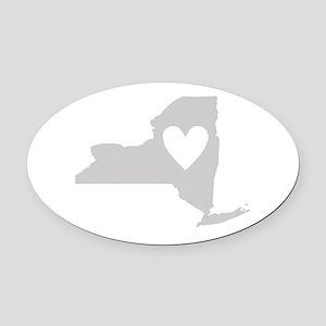 Heart New York Oval Car Magnet