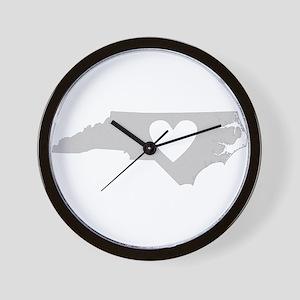 Heart North Carolina Wall Clock