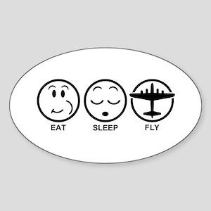 Eat Sleep Fly Sticker (Oval)