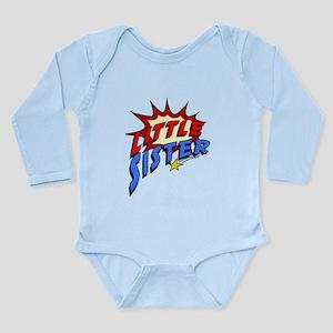 Little Sister Superher Long Sleeve Infant Bodysuit
