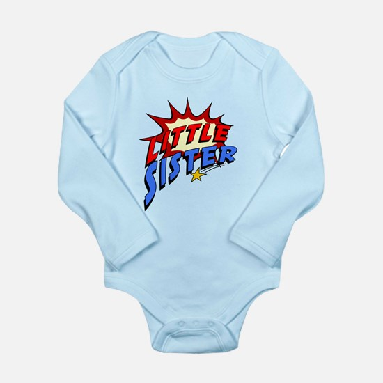 Little Sister Superher Long Sleeve Infant Bodysuit