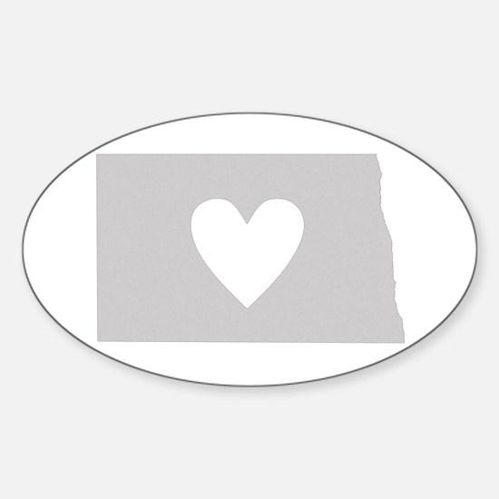 Heart North Dakota Sticker (Oval)