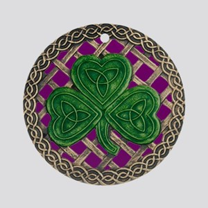 Shamrock And Celtic Knots Ornament (Round)
