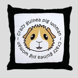 Crazy Guinea Pig Woman Throw Pillow