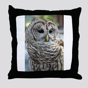 Barred Owl: Who are you??? Throw Pillow