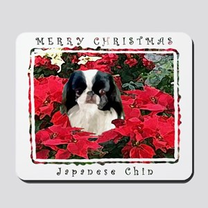 Japanese Chin Christmas Poinsettia Mousepad