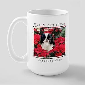 Japanese Chin Christmas Poinsettia Large Mug