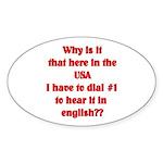 Press 1 to hear it in english Oval Sticker