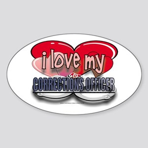 I LOVE MY CORRECTIONS OFFICER Oval Sticker