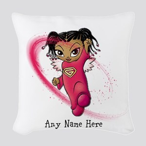 African American Angel Woven Throw Pillow