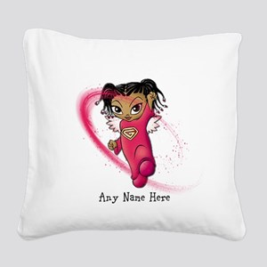African American Angel Square Canvas Pillow