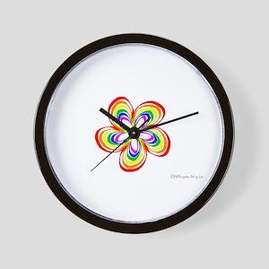 Rainbow Flower 3 Wall Clock