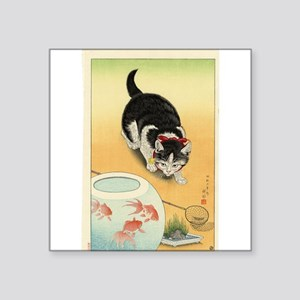 """Japanese Cats Square Sticker 3"""" x 3"""""""