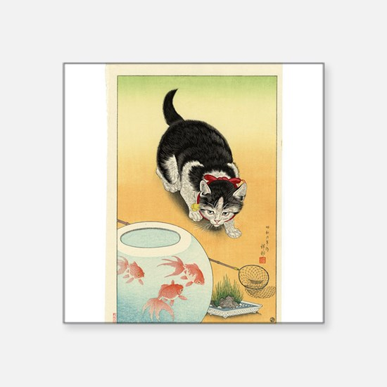 "Japanese Cats Square Sticker 3"" x 3"""